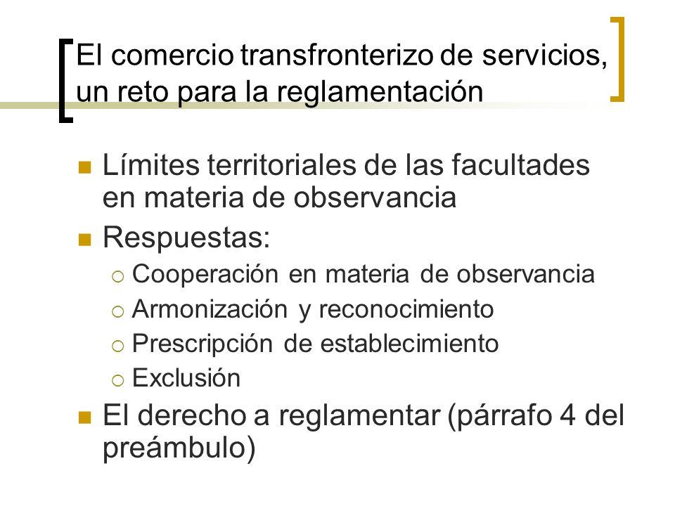 El comercio transfronterizo de servicios, un reto para la reglamentación Límites territoriales de las facultades en materia de observancia Respuestas: Cooperación en materia de observancia Armonización y reconocimiento Prescripción de establecimiento Exclusión El derecho a reglamentar (párrafo 4 del preámbulo)