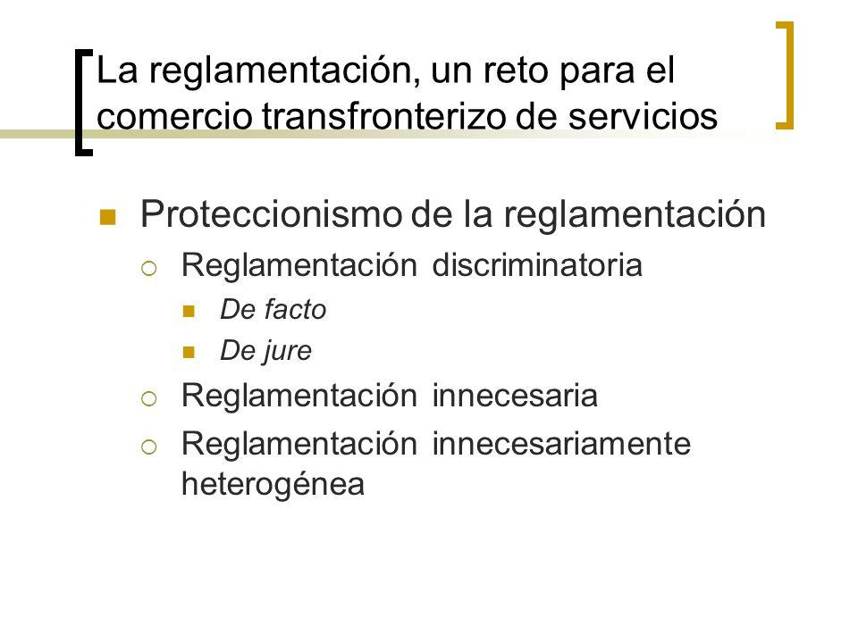 La reglamentación, un reto para el comercio transfronterizo de servicios Proteccionismo de la reglamentación Reglamentación discriminatoria De facto De jure Reglamentación innecesaria Reglamentación innecesariamente heterogénea