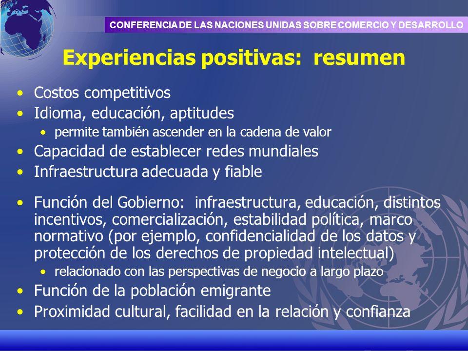 UNCTAD/CD-TFT 12 CONFERENCIA DE LAS NACIONES UNIDAS SOBRE COMERCIO Y DESARROLLO Experiencias positivas: resumen Costos competitivos Idioma, educación,