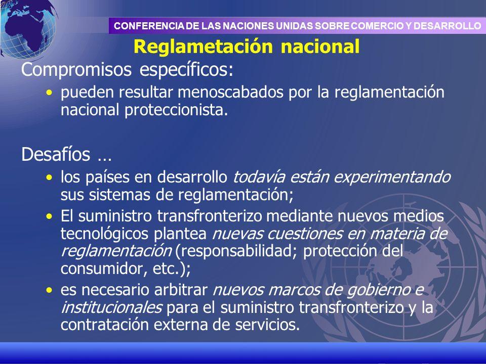 UNCTAD/CD-TFT 17 CONFERENCIA DE LAS NACIONES UNIDAS SOBRE COMERCIO Y DESARROLLO Reglametación nacional Compromisos específicos: pueden resultar menosc