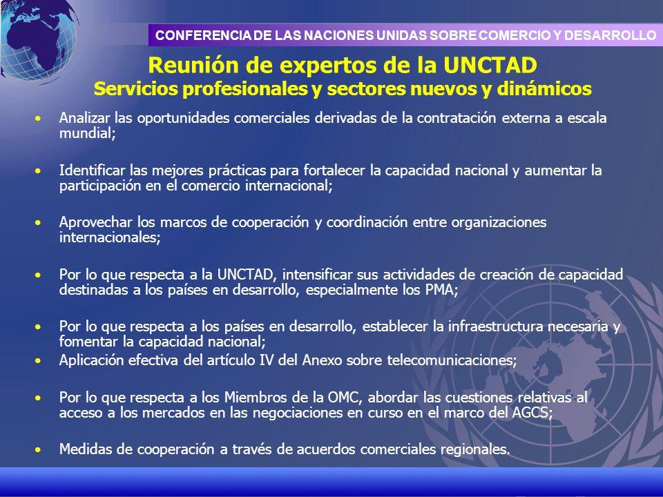 UNCTAD/CD-TFT 18 CONFERENCIA DE LAS NACIONES UNIDAS SOBRE COMERCIO Y DESARROLLO Reunión de expertos de la UNCTAD Servicios profesionales y sectores nu