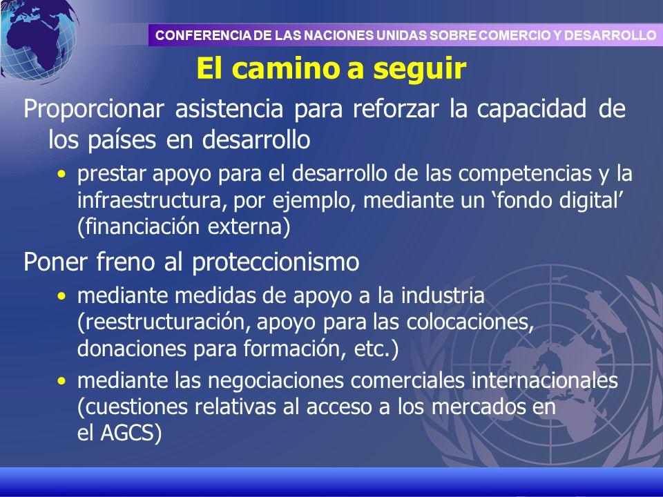 UNCTAD/CD-TFT 20 CONFERENCIA DE LAS NACIONES UNIDAS SOBRE COMERCIO Y DESARROLLO El camino a seguir Proporcionar asistencia para reforzar la capacidad