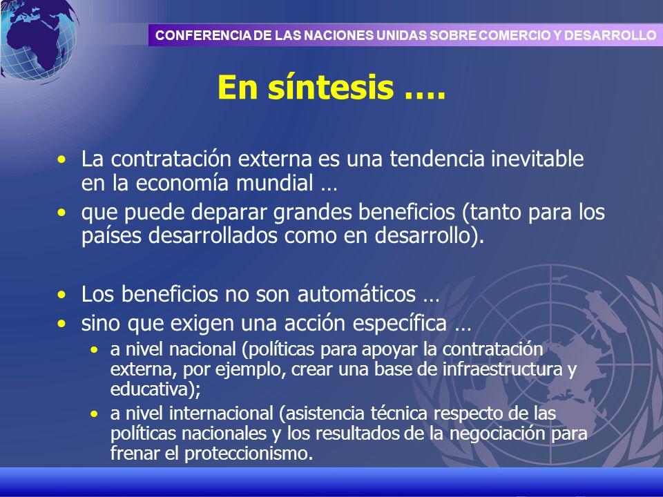 UNCTAD/CD-TFT 21 CONFERENCIA DE LAS NACIONES UNIDAS SOBRE COMERCIO Y DESARROLLO En síntesis …. La contratación externa es una tendencia inevitable en