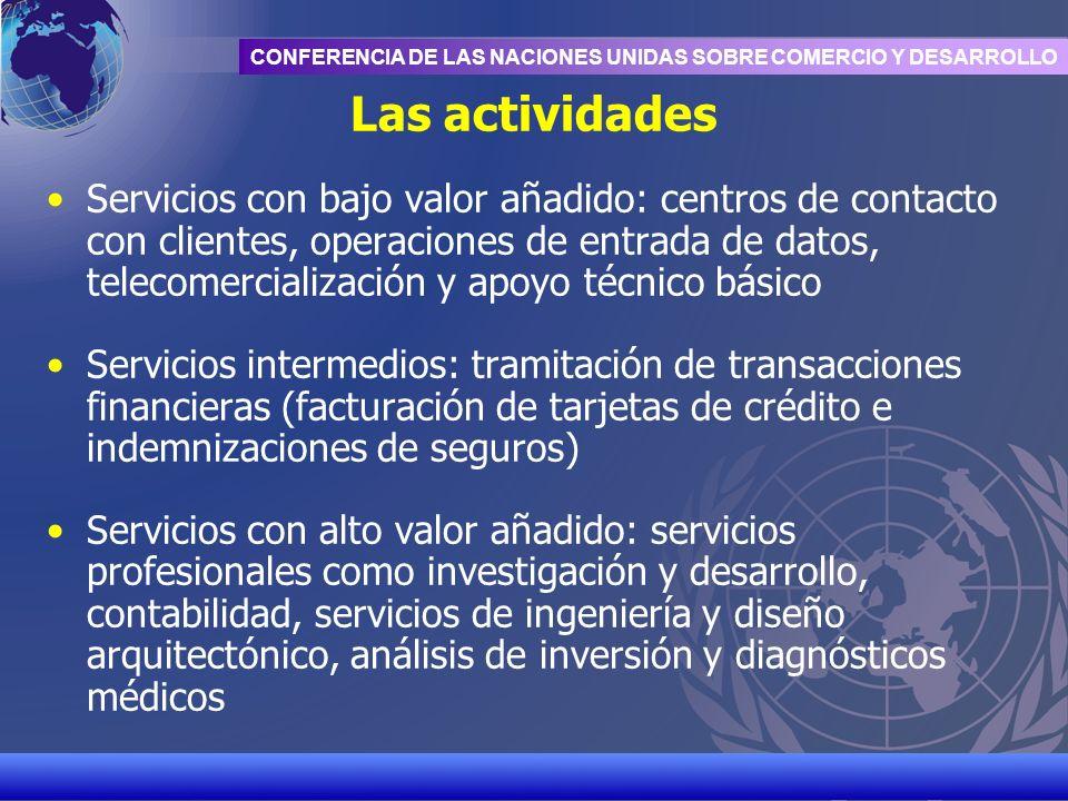 UNCTAD/CD-TFT 7 CONFERENCIA DE LAS NACIONES UNIDAS SOBRE COMERCIO Y DESARROLLO Las actividades Servicios con bajo valor añadido: centros de contacto c