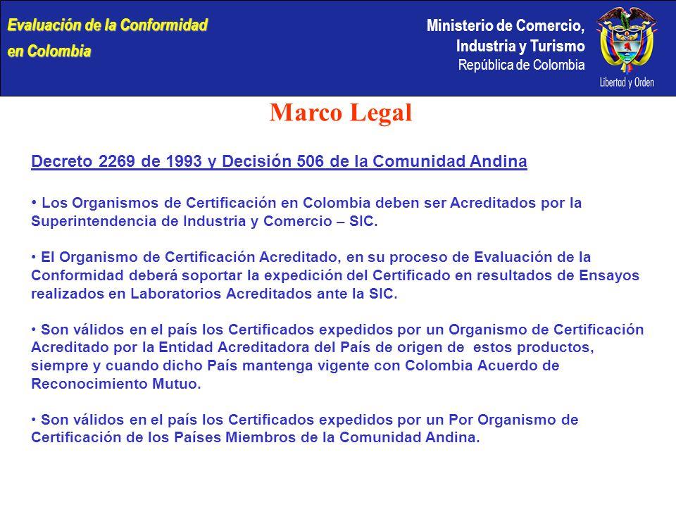 Ministerio de Comercio, Industria y Turismo República de Colombia Marco Legal Decreto 2269 de 1993 y Decisión 506 de la Comunidad Andina Los Organismos de Certificación en Colombia deben ser Acreditados por la Superintendencia de Industria y Comercio – SIC.