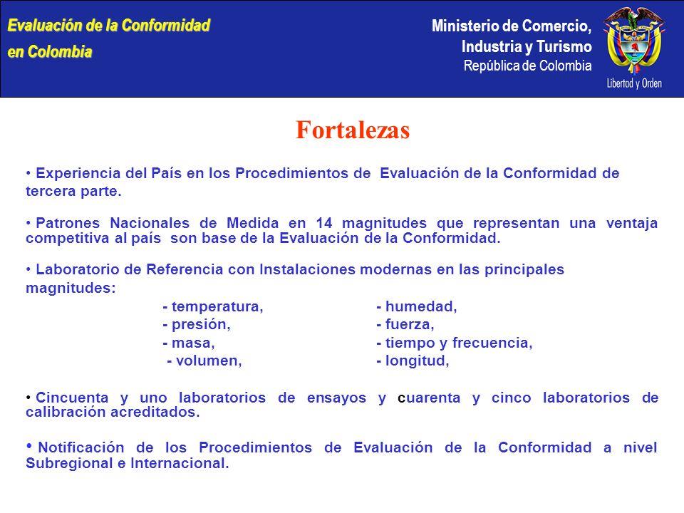 Ministerio de Comercio, Industria y Turismo República de Colombia Fortalezas Experiencia del País en los Procedimientos de Evaluación de la Conformidad de tercera parte.