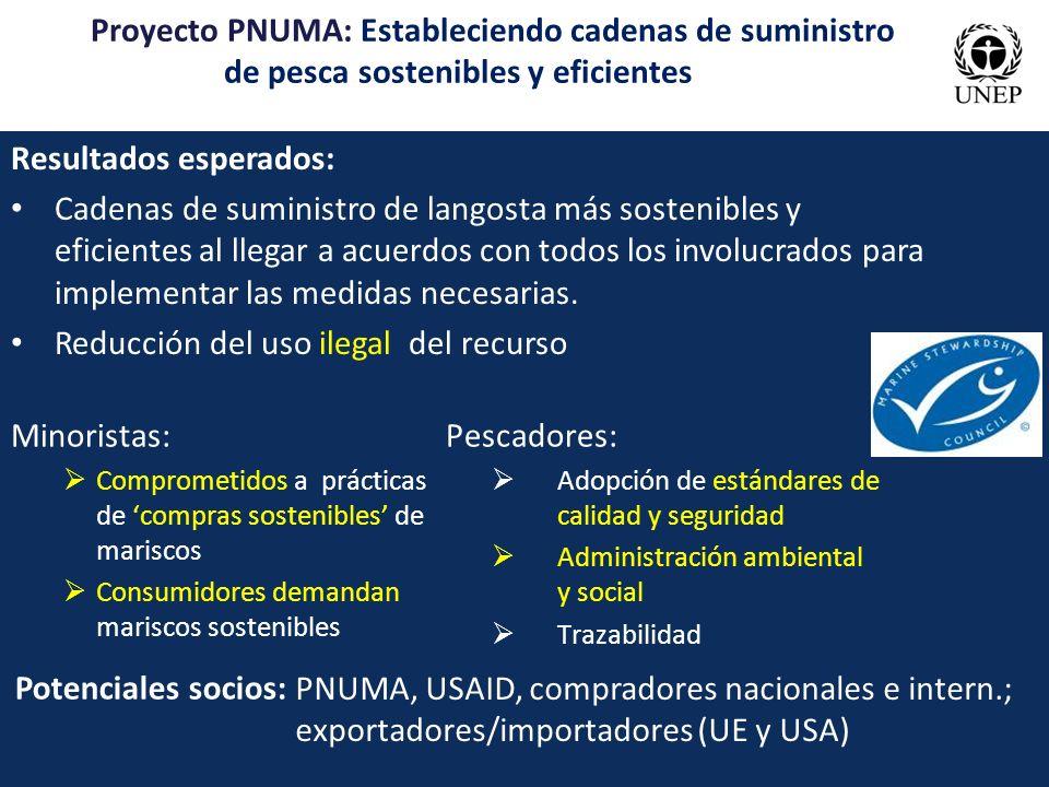 Proyecto PNUMA: Estableciendo cadenas de suministro de pesca sostenibles y eficientes Resultados esperados: Cadenas de suministro de langosta más sost