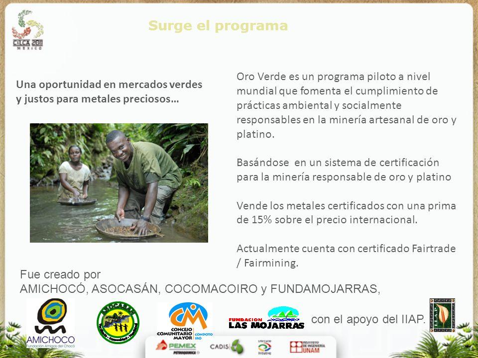 Oro Verde es un programa piloto a nivel mundial que fomenta el cumplimiento de prácticas ambiental y socialmente responsables en la minería artesanal