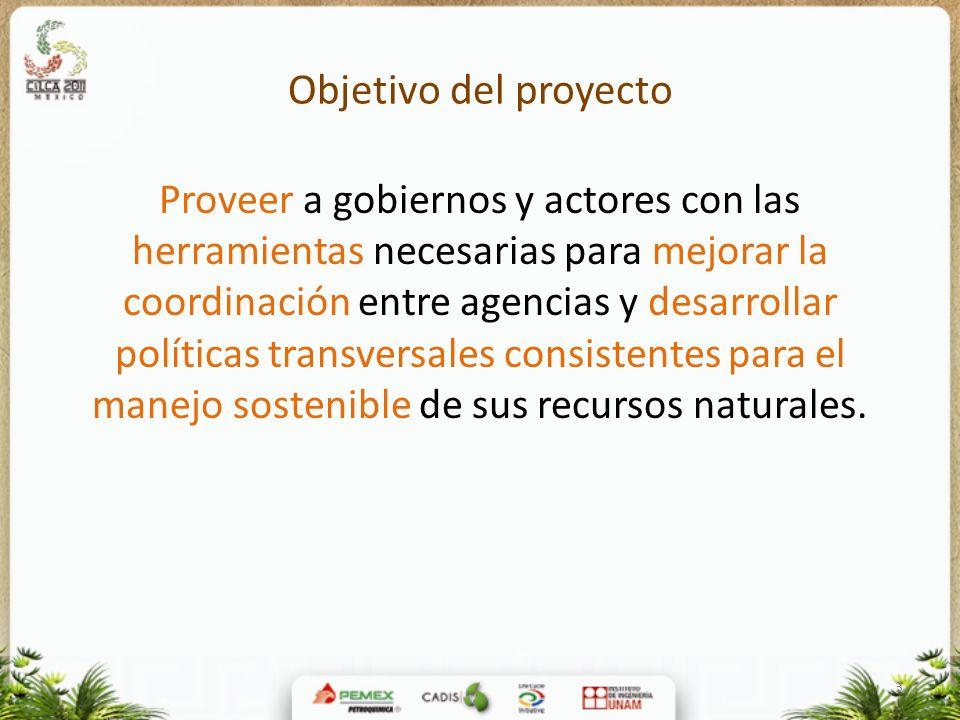 3 Objetivo del proyecto Proveer a gobiernos y actores con las herramientas necesarias para mejorar la coordinación entre agencias y desarrollar políti