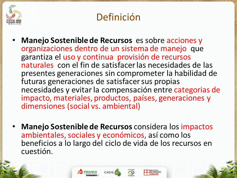4 Definición Manejo Sostenible de Recursos es sobre acciones y organizaciones dentro de un sistema de manejo que garantiza el uso y continua provisión