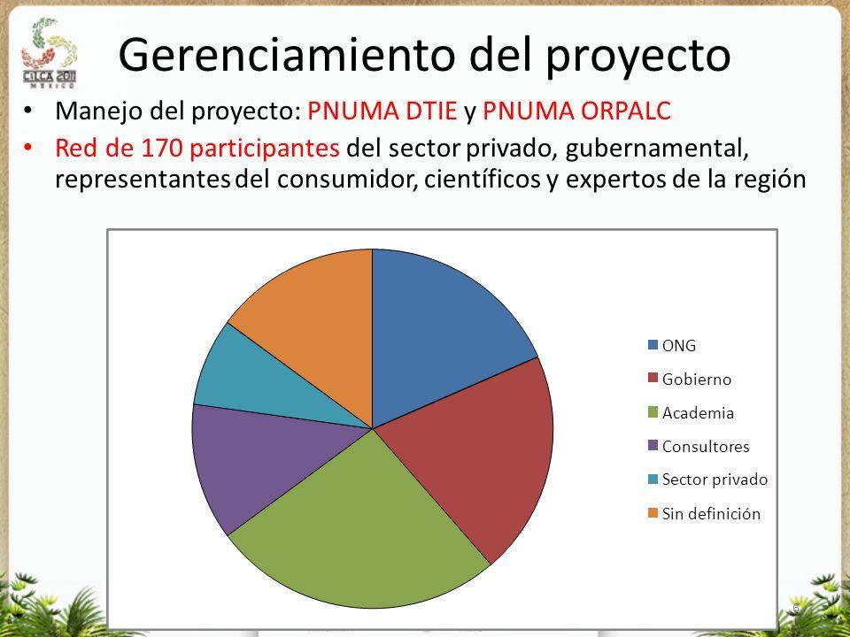 6 Gerenciamiento del proyecto Manejo del proyecto: PNUMA DTIE y PNUMA ORPALC Red de 170 participantes del sector privado, gubernamental, representante