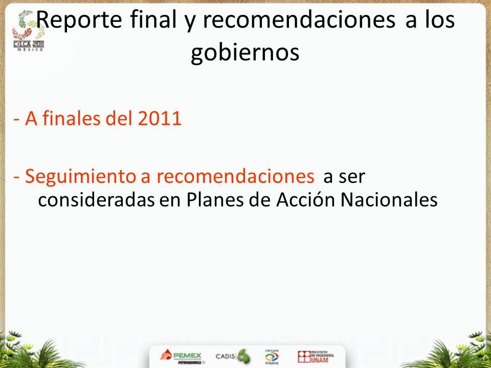 9 Reporte final y recomendaciones a los gobiernos - A finales del 2011 - Seguimiento a recomendaciones a ser consideradas en Planes de Acción Nacional