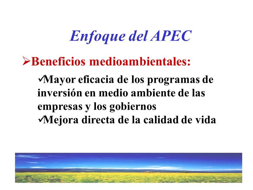 Beneficios medioambientales: Enfoque del APEC Mayor eficacia de los programas de inversión en medio ambiente de las empresas y los gobiernos Mejora di