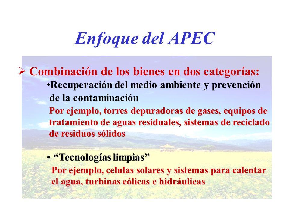 Enfoque del APEC Combinación de los bienes en dos categorías: Recuperación del medio ambiente y prevención de la contaminación Por ejemplo, torres dep
