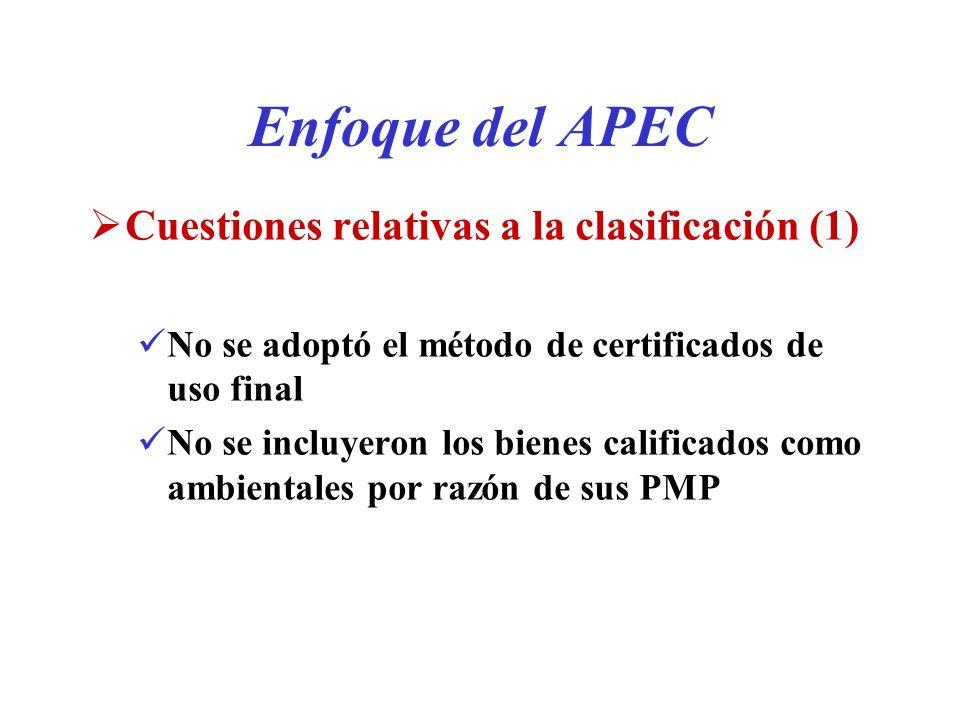 Enfoque del APEC Cuestiones relativas a la clasificación (1) No se adoptó el método de certificados de uso final No se incluyeron los bienes calificad