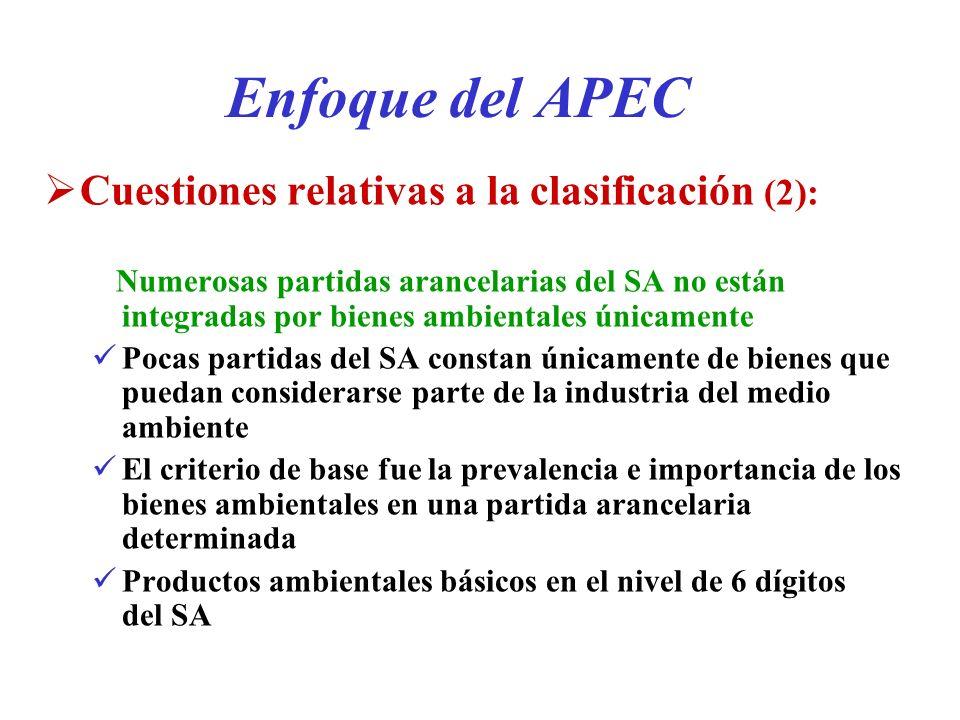 Enfoque del APEC Cuestiones relativas a la clasificación (2): Numerosas partidas arancelarias del SA no están integradas por bienes ambientales únicam