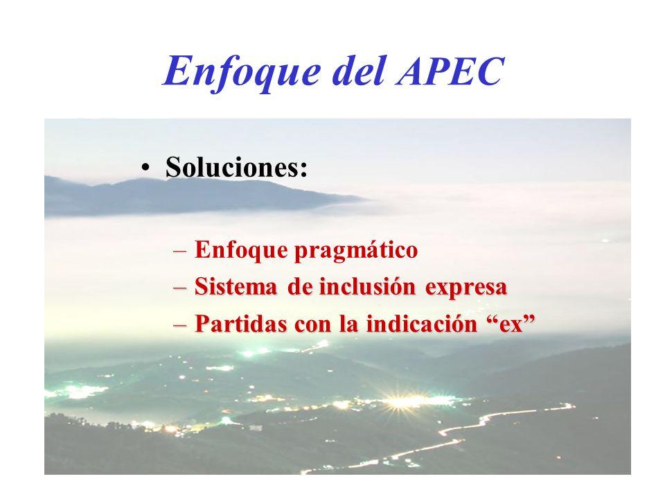 Enfoque del APEC Soluciones: –Enfoque pragmático –Sistema de inclusión expresa –Partidas con la indicación ex