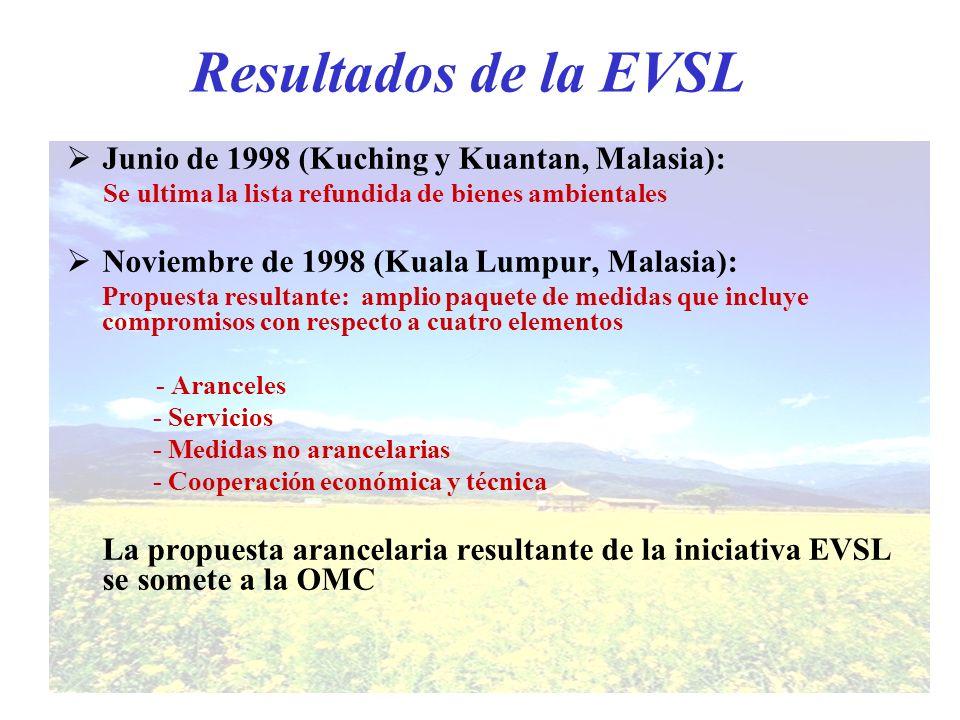 Resultados de la EVSL Junio de 1998 (Kuching y Kuantan, Malasia): Se ultima la lista refundida de bienes ambientales Noviembre de 1998 (Kuala Lumpur,