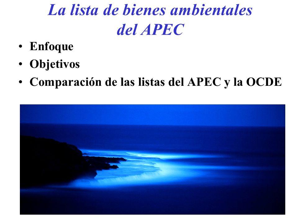 La lista de bienes ambientales del APEC Enfoque Objetivos Comparación de las listas del APEC y la OCDE