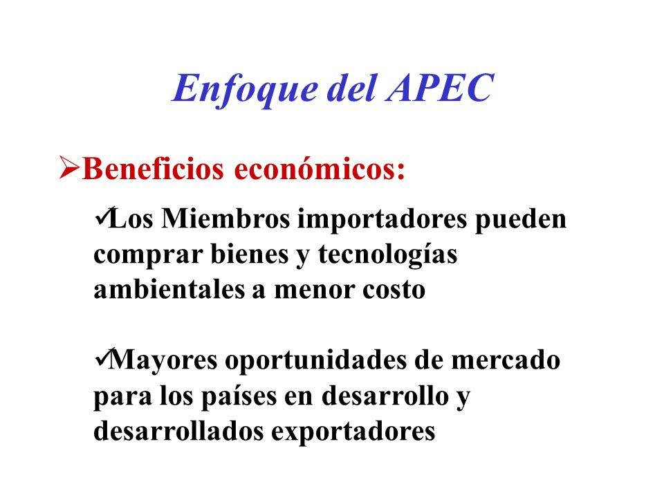 Beneficios económicos: Enfoque del APEC Los Miembros importadores pueden comprar bienes y tecnologías ambientales a menor costo Mayores oportunidades