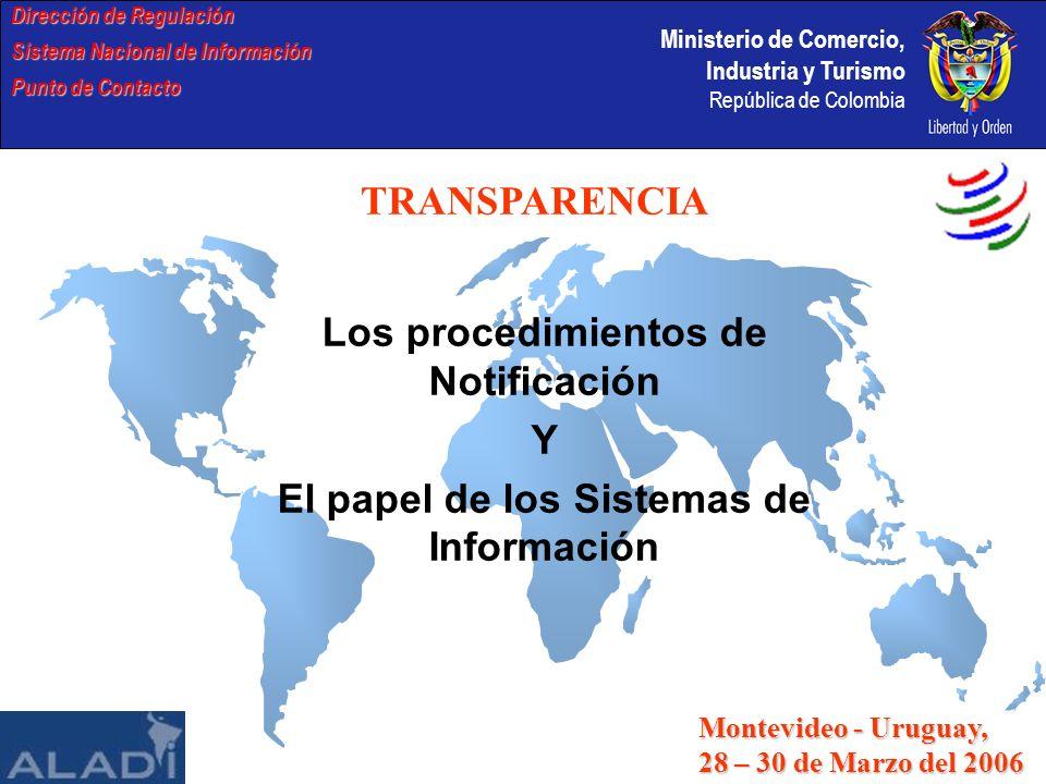Ministerio de Comercio, Industria y Turismo República de Colombia DOCUMENTOS SOLICITADOS DE NOTIFICACIONES DE OTROS PAISES Dirección de Regulación Sistema Nacional de Información Punto de Contacto