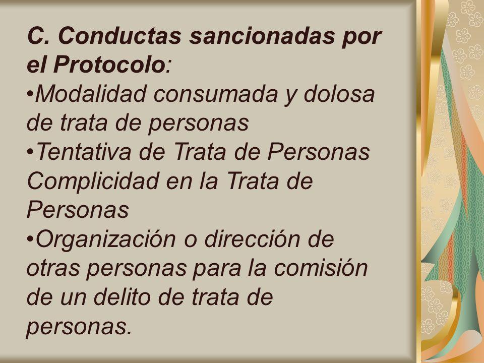 C. Conductas sancionadas por el Protocolo: Modalidad consumada y dolosa de trata de personas Tentativa de Trata de Personas Complicidad en la Trata de