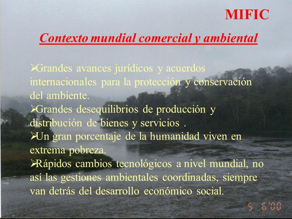 MIFIC Contexto mundial comercial y ambiental Grandes avances jurídicos y acuerdos internacionales para la protección y conservación del ambiente.