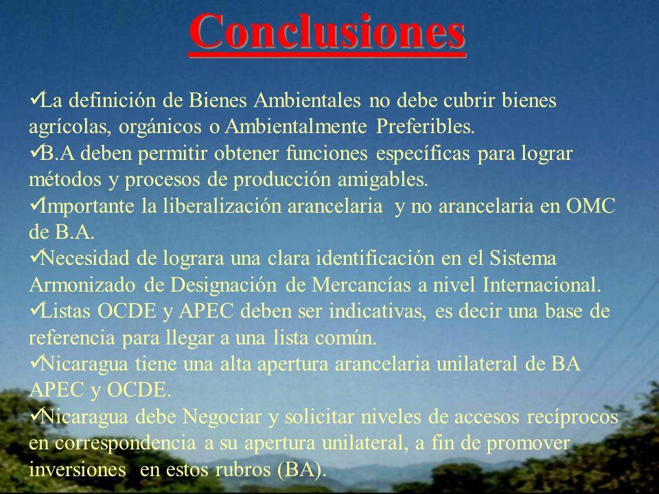 Conclusiones La definición de Bienes Ambientales no debe cubrir bienes agrícolas, orgánicos o Ambientalmente Preferibles.