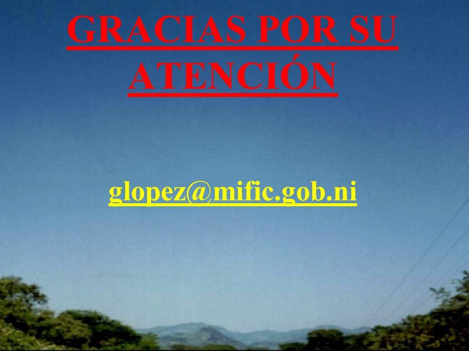 GRACIAS POR SU ATENCIÓN glopez@mific.gob.ni