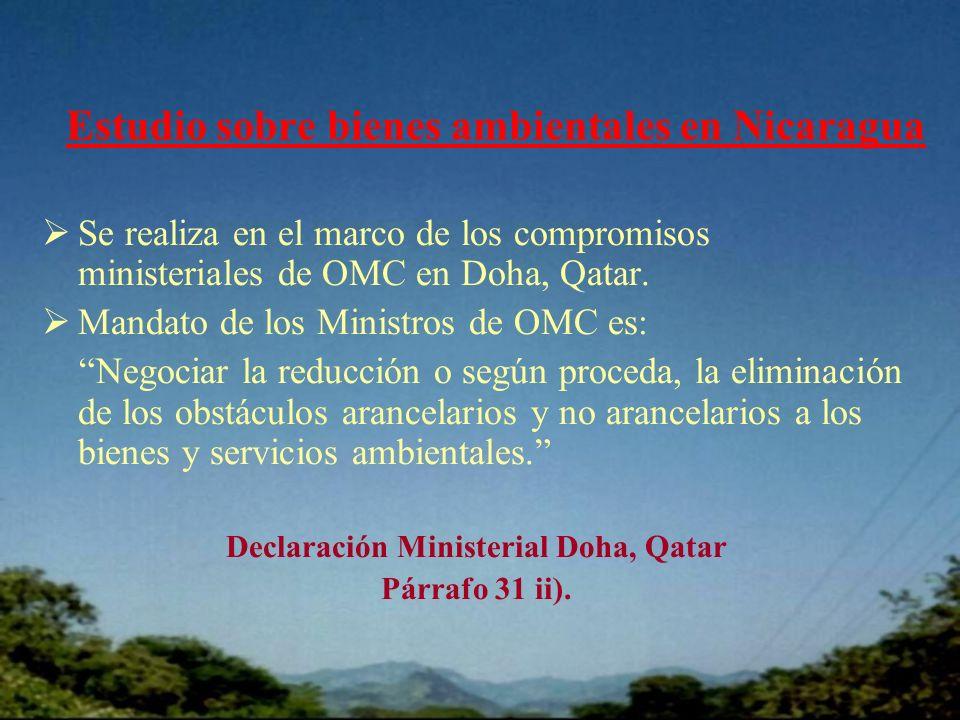 Estudio sobre bienes ambientales en Nicaragua Se realiza en el marco de los compromisos ministeriales de OMC en Doha, Qatar.
