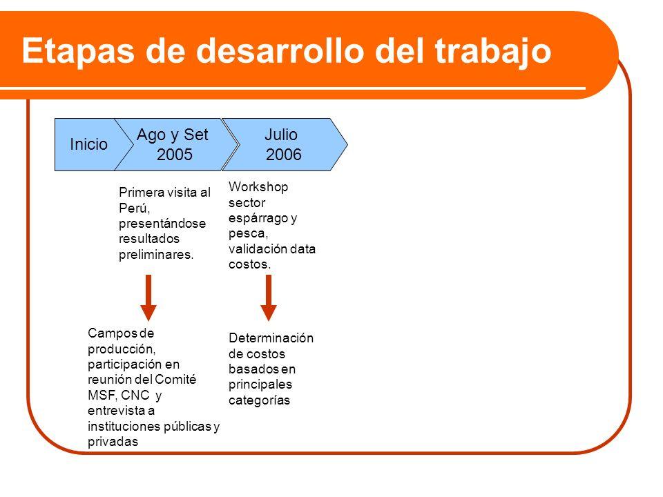 Etapas de desarrollo del trabajo Ago y Set 2005 Inicio Primera visita al Perú, presentándose resultados preliminares. Julio 2006 Workshop sector espár