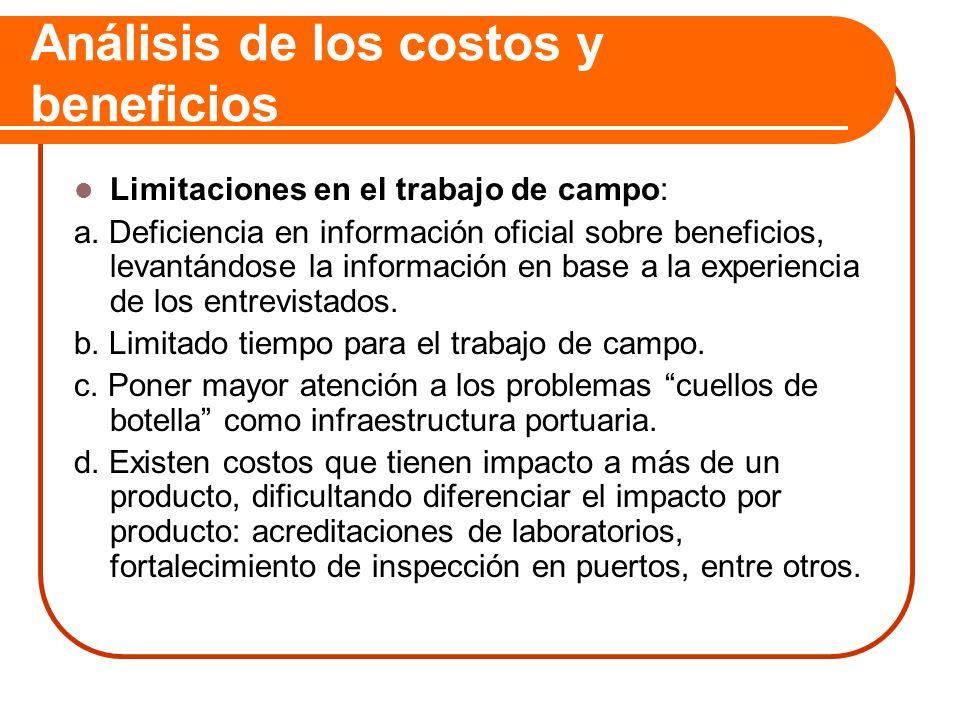 Análisis de los costos y beneficios Limitaciones en el trabajo de campo: a. Deficiencia en información oficial sobre beneficios, levantándose la infor
