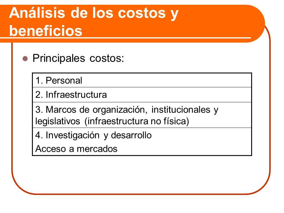 Análisis de los costos y beneficios Principales costos: 1. Personal 2. Infraestructura 3. Marcos de organización, institucionales y legislativos (infr