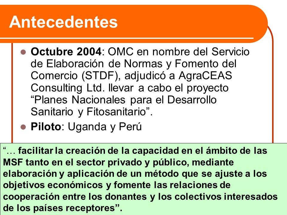 Antecedentes Octubre 2004: OMC en nombre del Servicio de Elaboración de Normas y Fomento del Comercio (STDF), adjudicó a AgraCEAS Consulting Ltd. llev