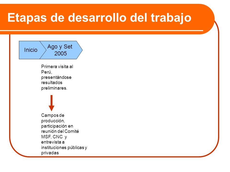 Etapas de desarrollo del trabajo Ago y Set 2005 Inicio Primera visita al Perú, presentándose resultados preliminares. Campos de producción, participac