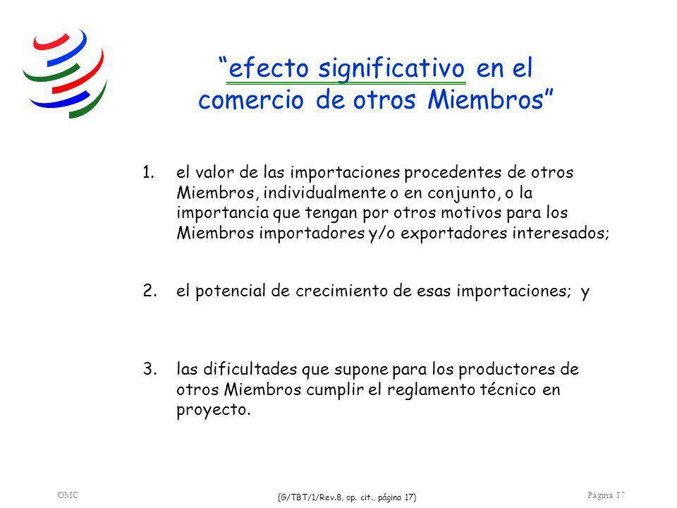 OMCPágina 17 efecto significativo en el comercio de otros Miembros 3.las dificultades que supone para los productores de otros Miembros cumplir el reglamento técnico en proyecto.