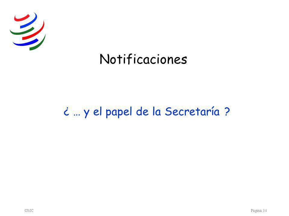 OMCPágina 34 Notificaciones ¿ … y el papel de la Secretaría