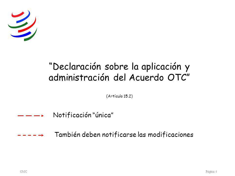 OMCPágina 4 Declaración sobre la aplicación y administración del Acuerdo OTC (Artículo 15.2) Notificación única También deben notificarse las modificaciones