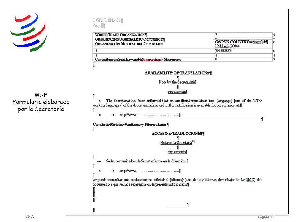OMCPágina 45 MSF Formulario elaborado por la Secretaría