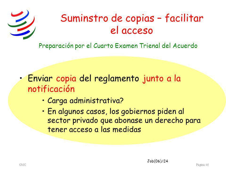 OMCPágina 46 Suminstro de copias – facilitar el acceso Enviar copia del reglamento junto a la notificación Carga administrativa.