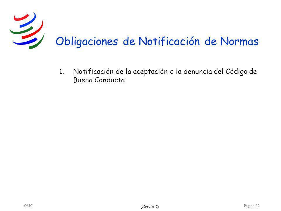 OMCPágina 57 Obligaciones de Notificación de Normas 1.Notificación de la aceptación o la denuncia del Código de Buena Conducta (párrafo C)
