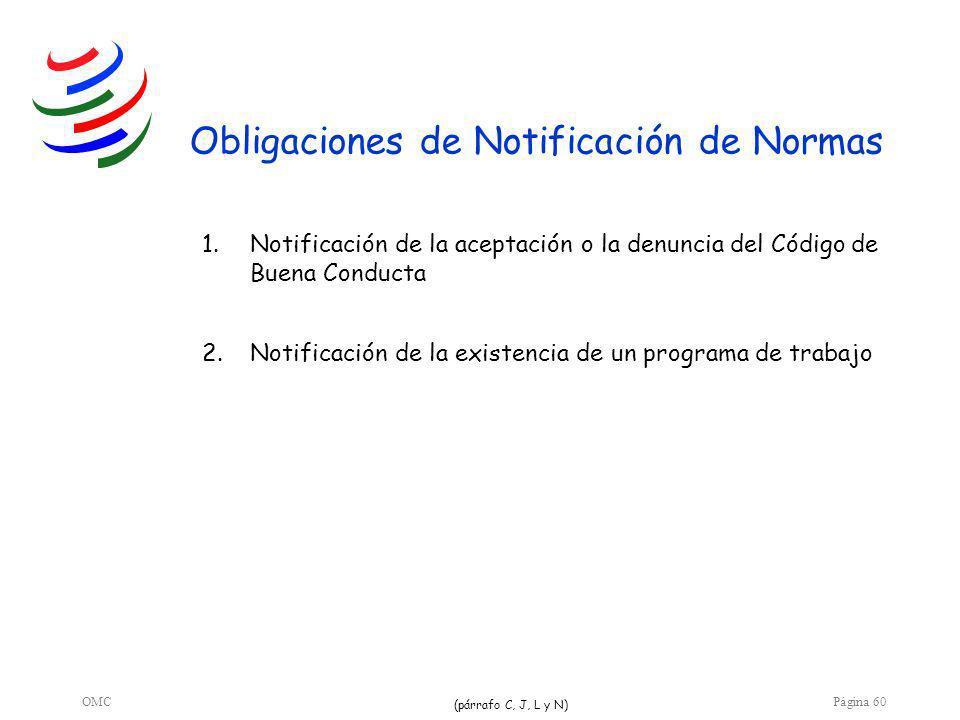 OMCPágina 60 Obligaciones de Notificación de Normas 1.Notificación de la aceptación o la denuncia del Código de Buena Conducta 2.Notificación de la existencia de un programa de trabajo (párrafo C, J, L y N)