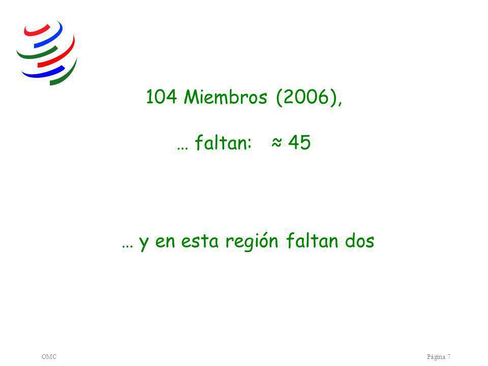 OMCPágina 7 104 Miembros (2006), … faltan: 45 … y en esta región faltan dos