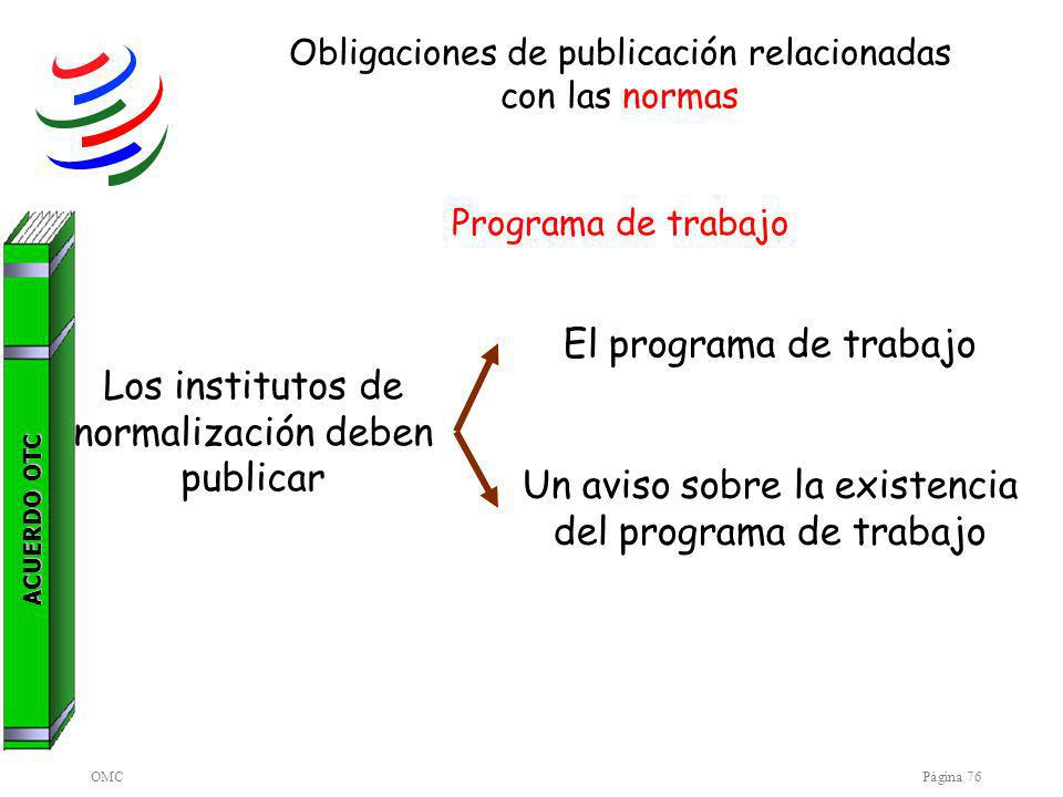OMCPágina 76 Obligaciones de publicación relacionadas con las normas Programa de trabajo Los institutos de normalización deben publicar El programa de trabajo Un aviso sobre la existencia del programa de trabajo ACUERDO OTC