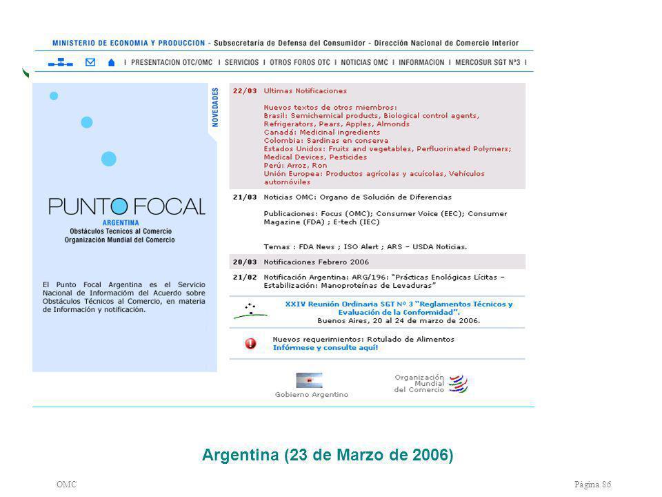 OMCPágina 86 Argentina (23 de Marzo de 2006)