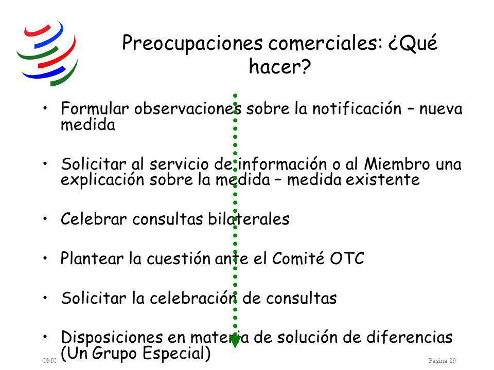 OMCPágina 89 Preocupaciones comerciales: ¿Qué hacer.