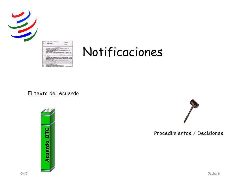 OMCPágina 9 Notificaciones El texto del Acuerdo Procedimientos / Decisiones Acuerdo OTC