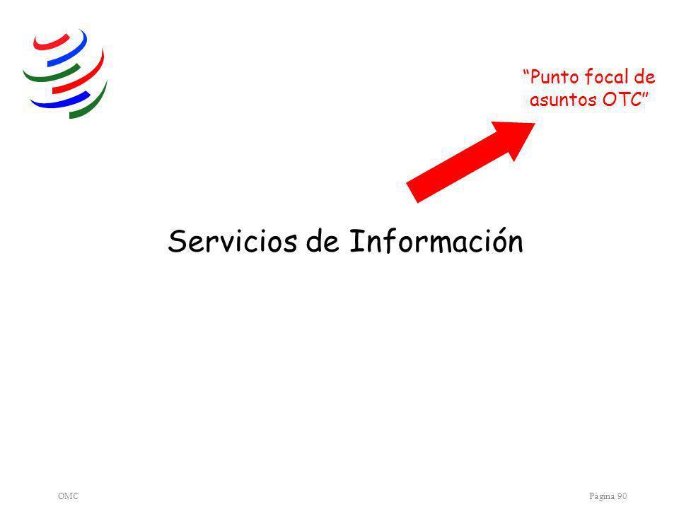 OMCPágina 90 Servicios de Información Punto focal de asuntos OTC