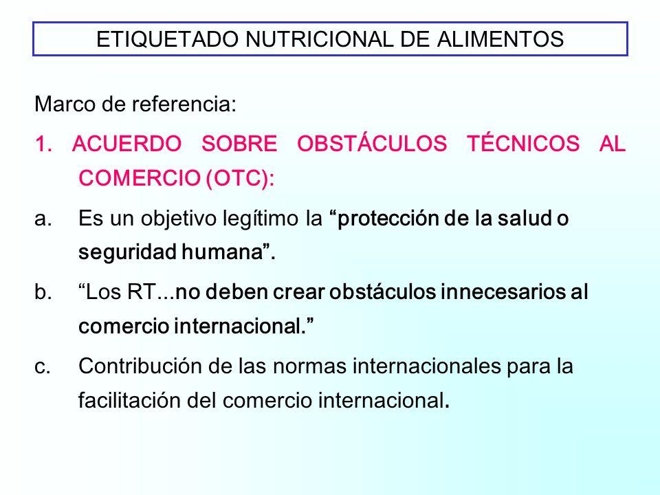 OMC-TALLER SOBRE ETIQUETADO ETIQUETADO NUTRICIONAL DE ALIMENTOS Lic. Maria J. Rivera Área Obstáculos Técnicos al Comercio-Argentina Ginebra, 21 y 22 d