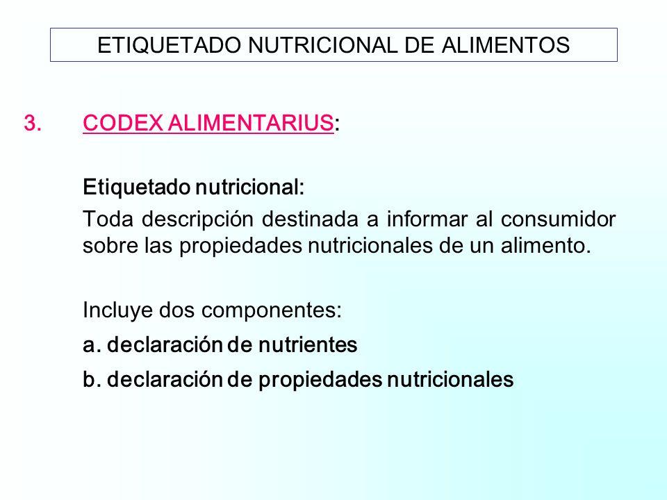 3.CODEX ALIMENTARIUS: Etiquetado nutricional: Toda descripción destinada a informar al consumidor sobre las propiedades nutricionales de un alimento.